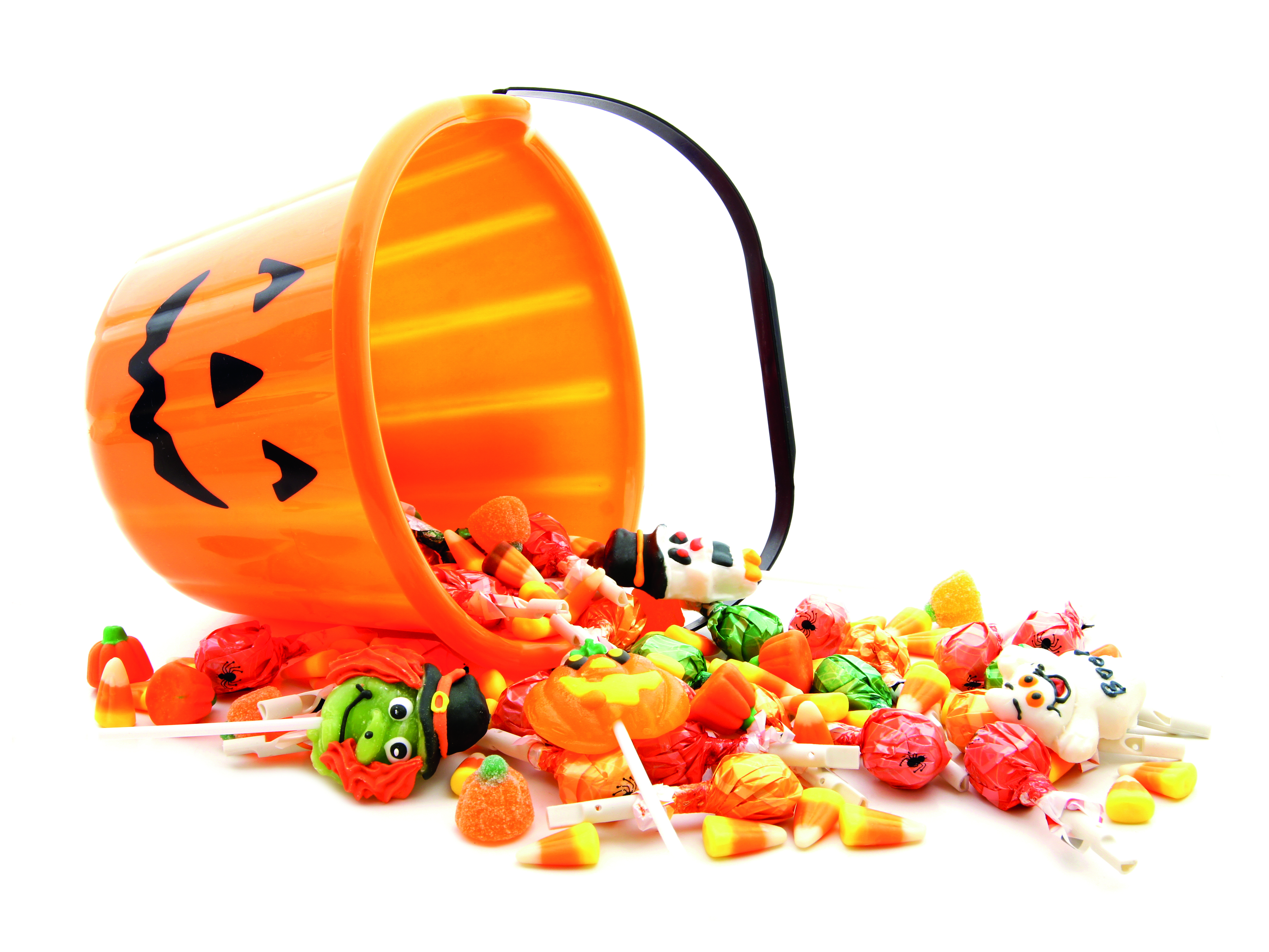 Halloween bucket filled with candy