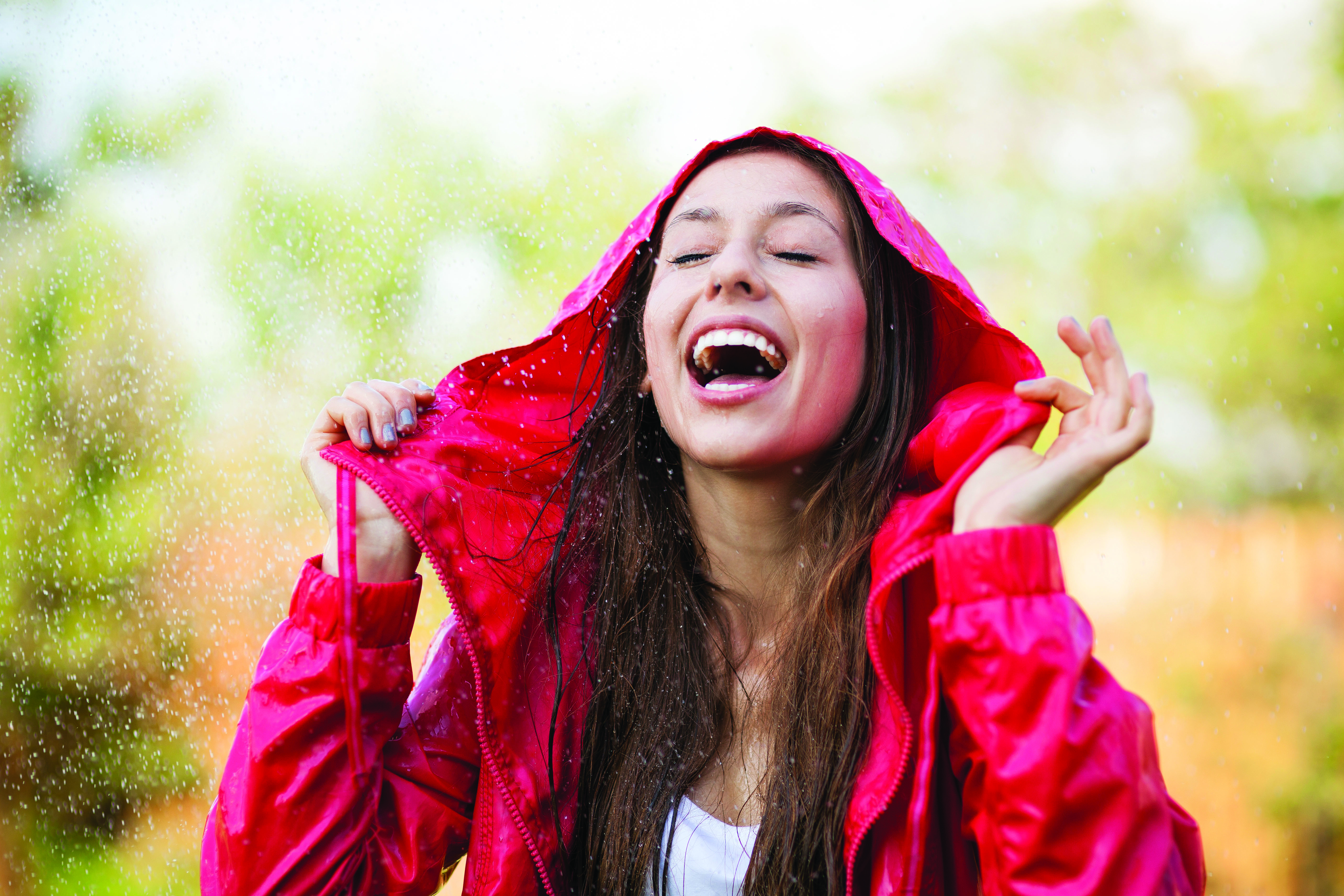 Woman enjoying rain
