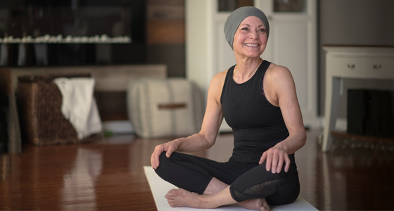 Cancer patient doing yoga