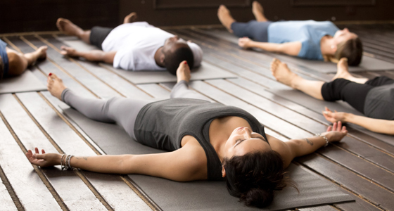 Woman on floor during yoga