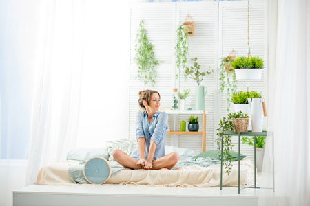 Woman enjoying weather indoors