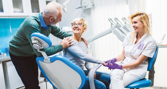 Elderly couple at dentist