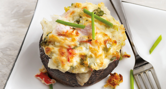 Seafood-stuffed mushrooms