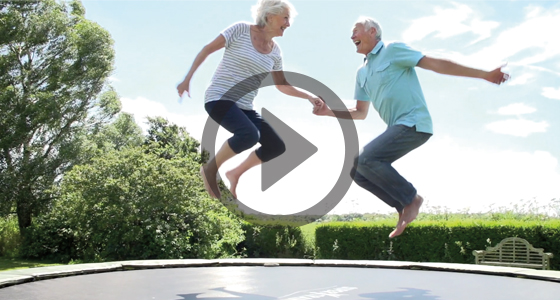 People jumping on trampoline